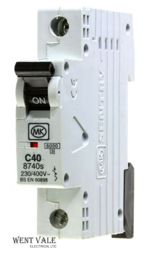 MK Sentry - 8740s - 40a Type C Single Pole MCB Unused